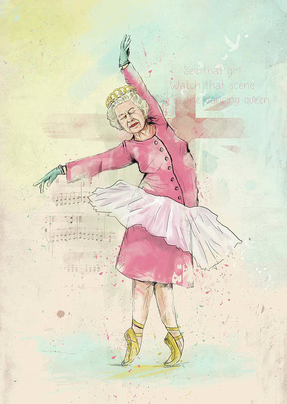 Queen Art Print featuring the mixed media Dancing queen by Balazs Solti