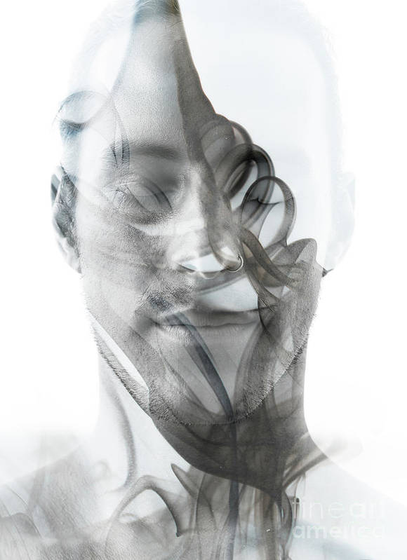 Spa Art Print featuring the photograph Double Exposure Portrait Of A Sexy Man by Victor tongdee