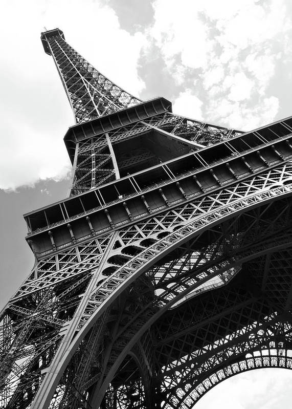 Black Color Art Print featuring the photograph Eiffel Tower In Black And White by Sarah8000