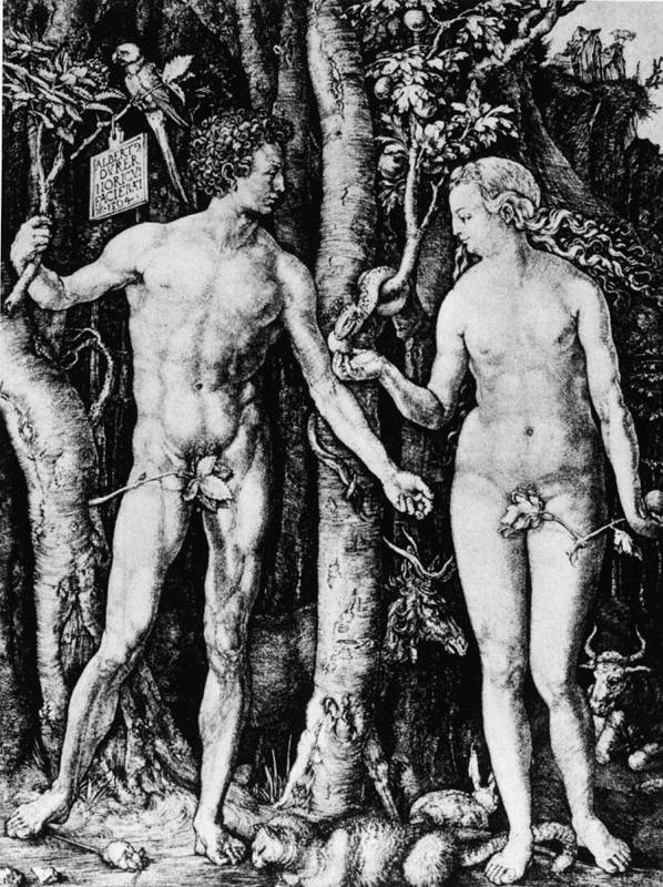 Engraving Art Print featuring the photograph Engraving Of Adam And Eve by Hulton Archive