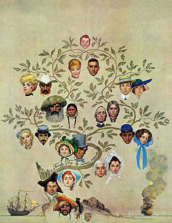 Families Art Print featuring the drawing family Tree by Norman Rockwell