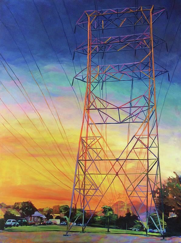 Sunset Art Print featuring the painting Fire Power by Bonnie Lambert