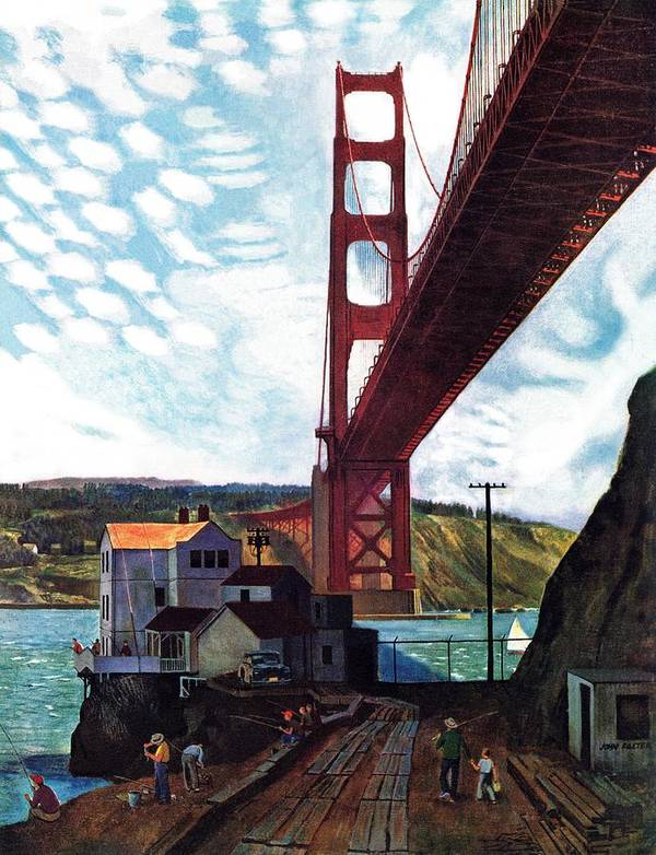 Bridges Art Print featuring the drawing Fishing Under The Golden Gate by John Falter