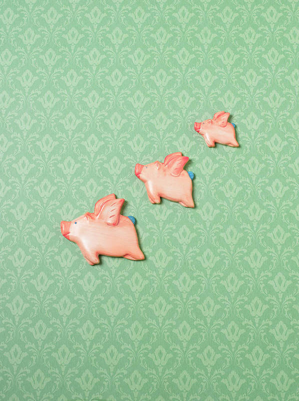 Disbelief Art Print featuring the photograph Flying Pig Ornaments On Wallpapered by Peter Dazeley