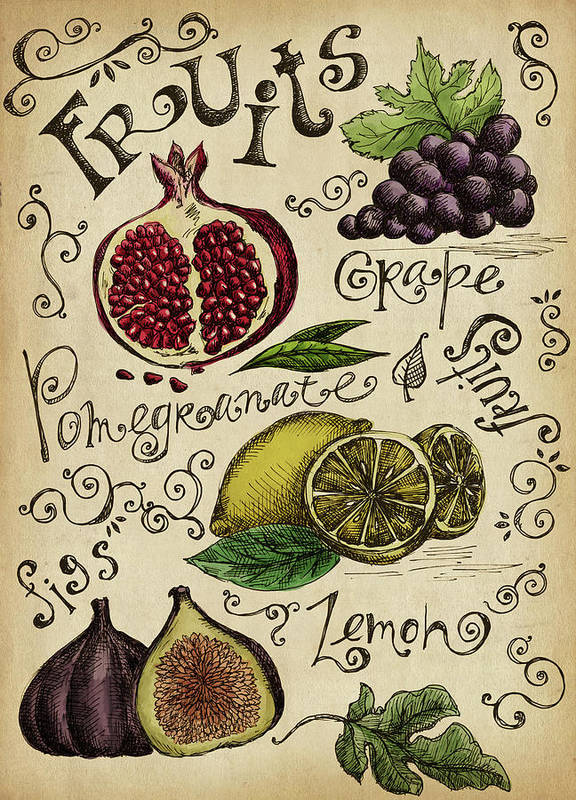 Doodle Art Print featuring the digital art Fruits by Kalistratova