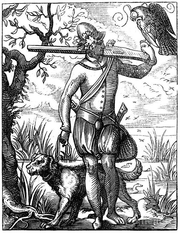 Engraving Art Print featuring the drawing German Falconer, 16th Century by Print Collector
