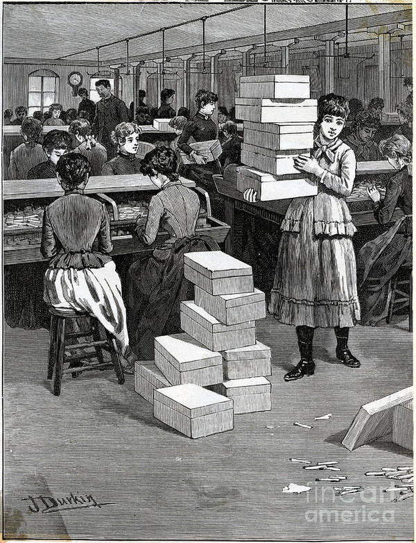 Working Art Print featuring the photograph Girl Carrying Boxes Cigarette Factory by Bettmann