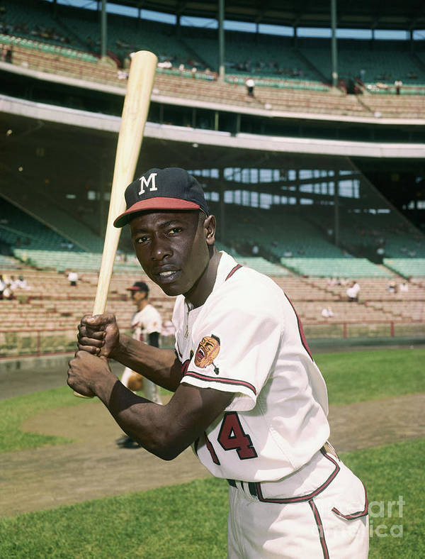 People Art Print featuring the photograph Hank Aaron Of The Milwaukee Braves by Bettmann