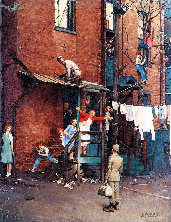 Alley Art Print featuring the drawing Homecoming G.i. by Norman Rockwell