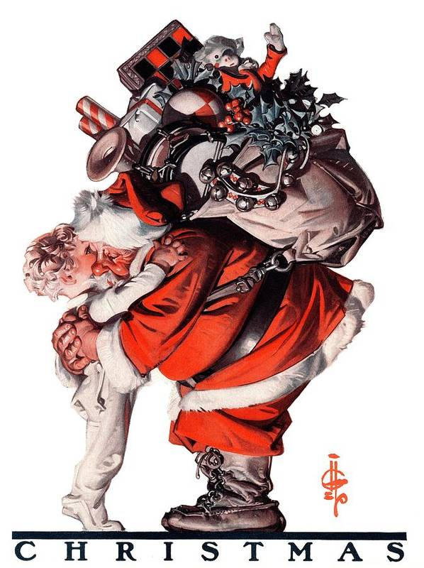 Christmas Art Print featuring the drawing Hug From Santa by J.c. Leyendecker