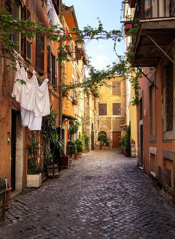 Roman Art Print featuring the photograph Italian Old Town Trastevere In Rome by Spooh