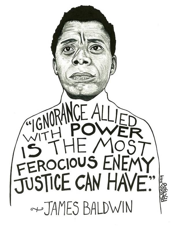 Pen And Ink Illustration Art Print featuring the drawing James Baldwin Drawing by Rick Frausto