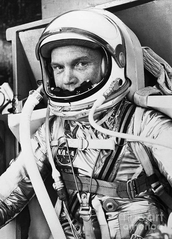 Headwear Art Print featuring the photograph John Glenn In A Spacesuit Before Takeoff by Bettmann