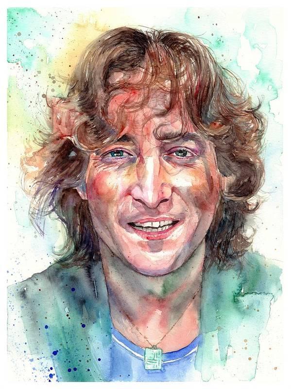 John Lennon Art Print featuring the painting John Lennon Smiling by Suzann Sines