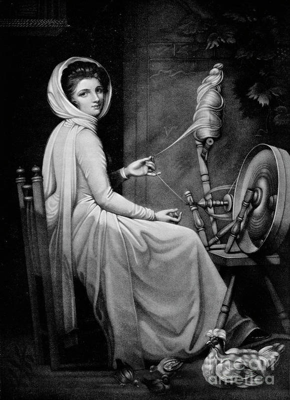 Oil Painting Art Print featuring the drawing Lady Hamilton As The Spinstress by Print Collector