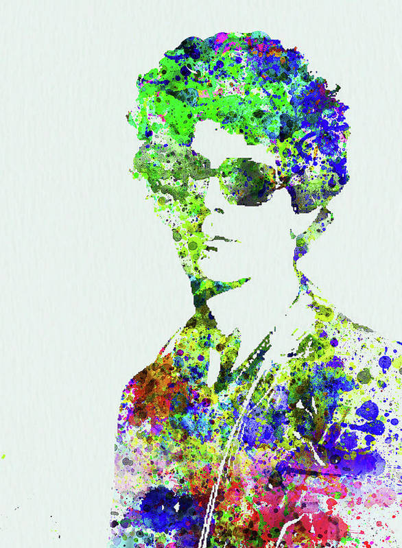 Bob Dylan Art Print featuring the mixed media Legendary Bob Dylan Watercolor by Naxart Studio