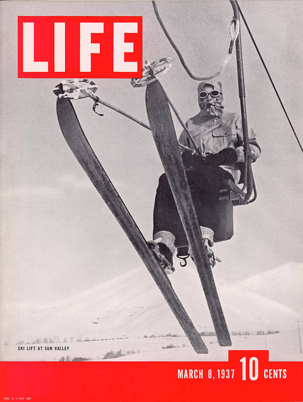 Skiing Art Print featuring the photograph Life Cover 03-08-1937 Skier Riding The by Alfred Eisenstaedt