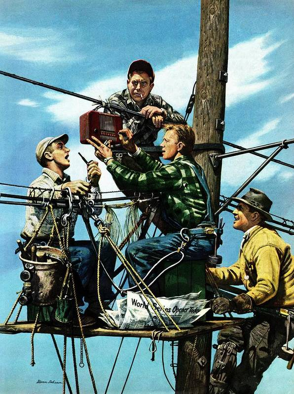 Baseball Art Print featuring the drawing Linemen Listen To World Series by Stevan Dohanos