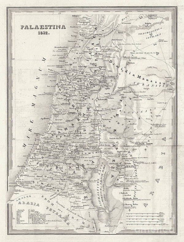 Etching Art Print featuring the digital art Map Of Palestine, Steel Engraving by Zu 09