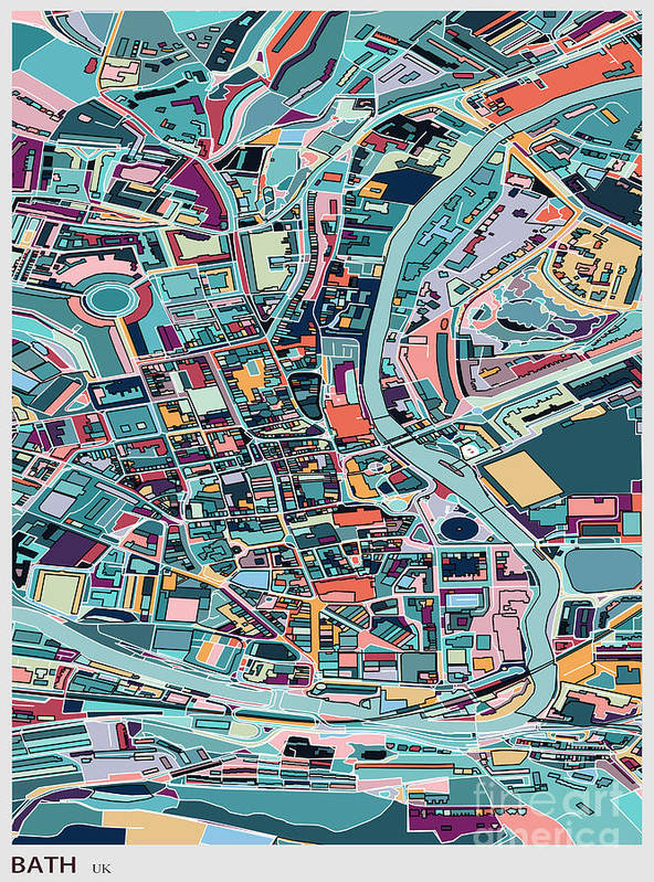 Rectangle Art Print featuring the digital art Map Style Art Background,bath City by Shuoshu