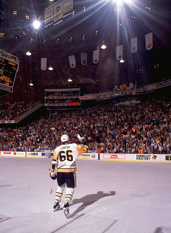 Playoffs Art Print featuring the photograph Mario Lemieux Waves To The Crowd by B Bennett