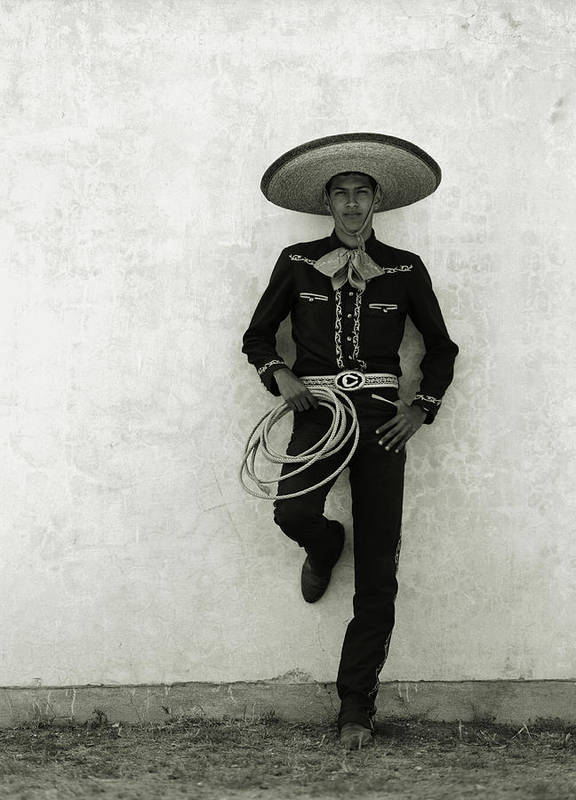 Cool Attitude Art Print featuring the photograph Mexican Cowboy Wearing Hat And Holding by Terry Vine