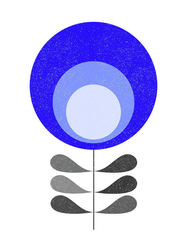 Mid Century Art Print featuring the mixed media Mid Century Modern Blue Flower 3 by Naxart Studio