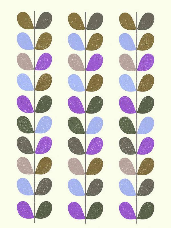 Mid Century Art Print featuring the mixed media Mid Century Modern Leaf Pattern II by Naxart Studio