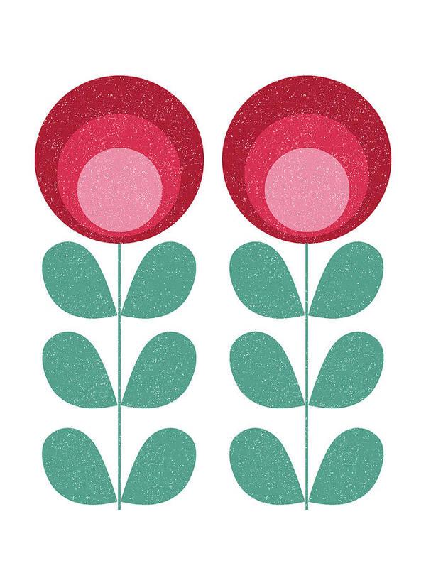 Mid Century Art Print featuring the mixed media Mid Century Modern Pink Flowers by Naxart Studio