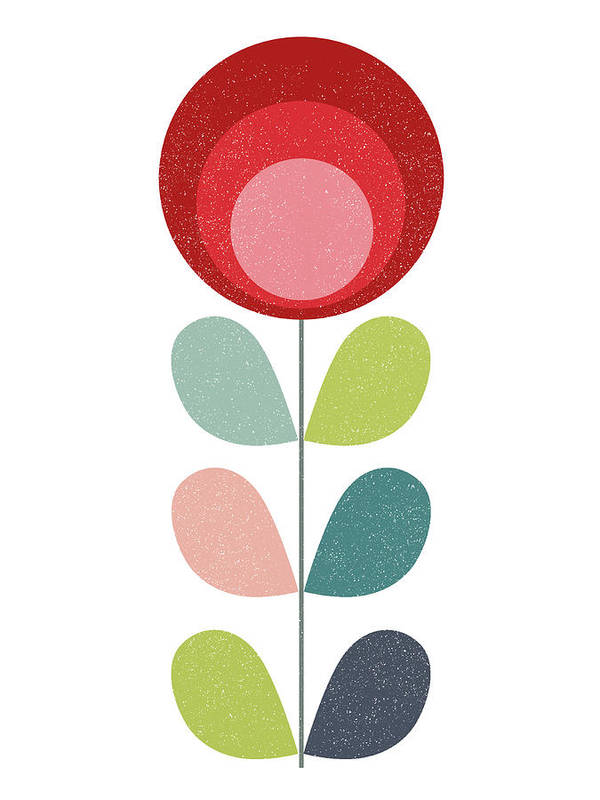 Mid-century Art Print featuring the mixed media Mid Century Modern Red Flower I by Naxart Studio