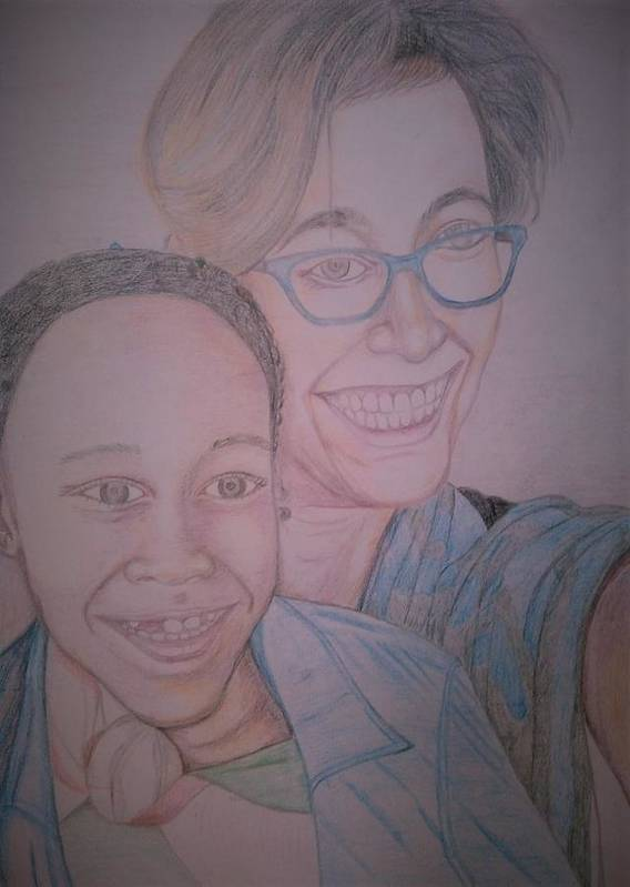 Drawing Art Print featuring the drawing Mother and Daughter by Andrew Johnson