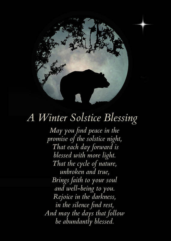 Solstice Art Print featuring the photograph Native American Inspired Winter Solstice Blessings With Bear by Stephanie Laird