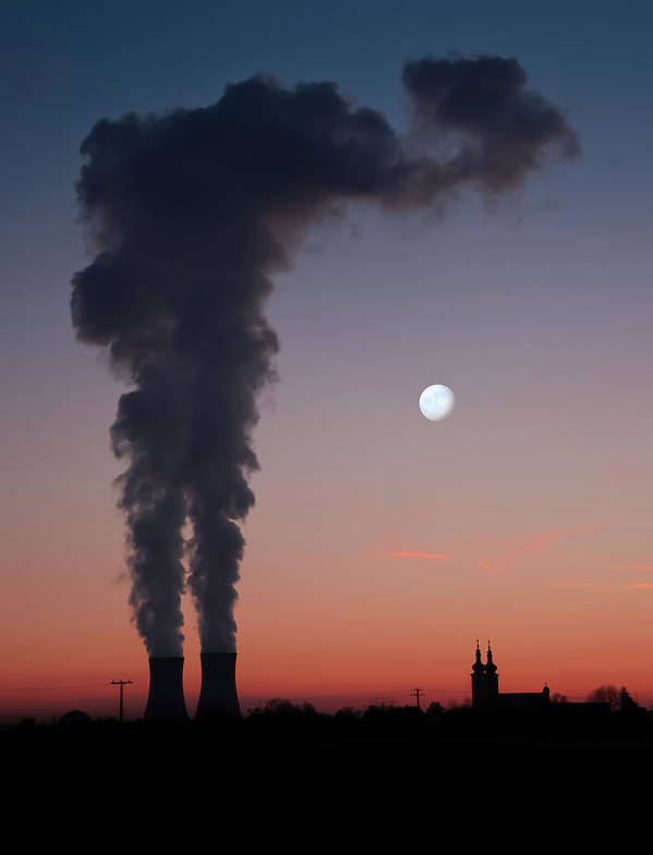 Air Pollution Art Print featuring the photograph Nuclear Power Station In Bavaria by Michael Kohaupt