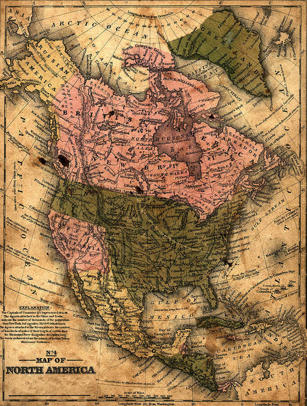 Outdoors Art Print featuring the photograph Old North America Map by Belterz