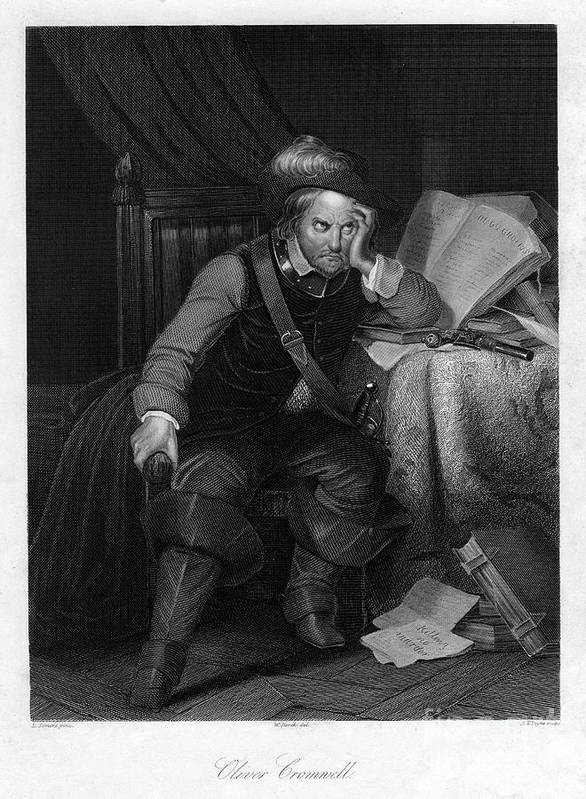 Oliver Cromwell Art Print featuring the drawing Oliver Cromwell With Killing No Murder by Print Collector