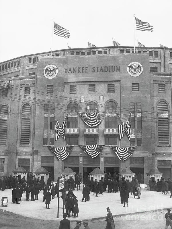 Crowd Of People Art Print featuring the photograph Opening Day For Yankee Stadium In New by Bettmann