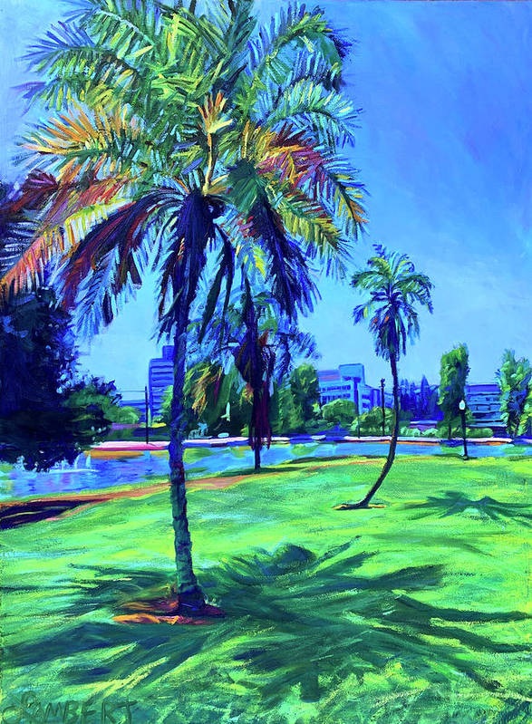 Park Art Print featuring the painting Palm Prints by Bonnie Lambert
