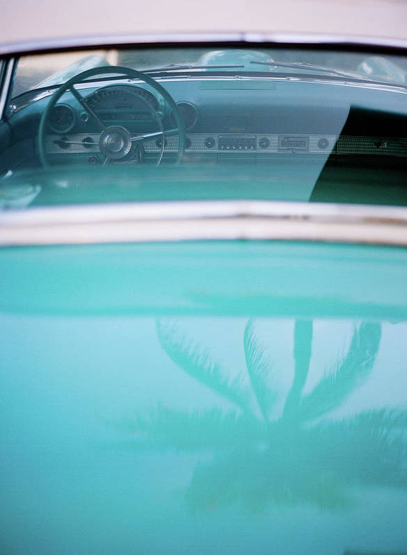Outdoors Art Print featuring the photograph Palm Tree Reflection On Car by Jörgen Persson - Www.rebusfilm.se