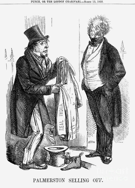 Engraving Art Print featuring the drawing Palmerston Selling Off, 1858 by Print Collector