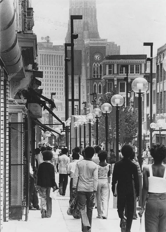Baltimore Art Print featuring the photograph People Walking Before Baltimore Mall by Afro Newspaper/gado
