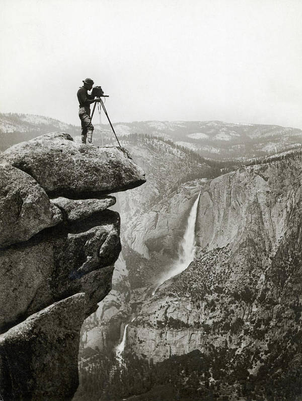 People Art Print featuring the photograph Photographer In Yosemite Valley by Bettmann
