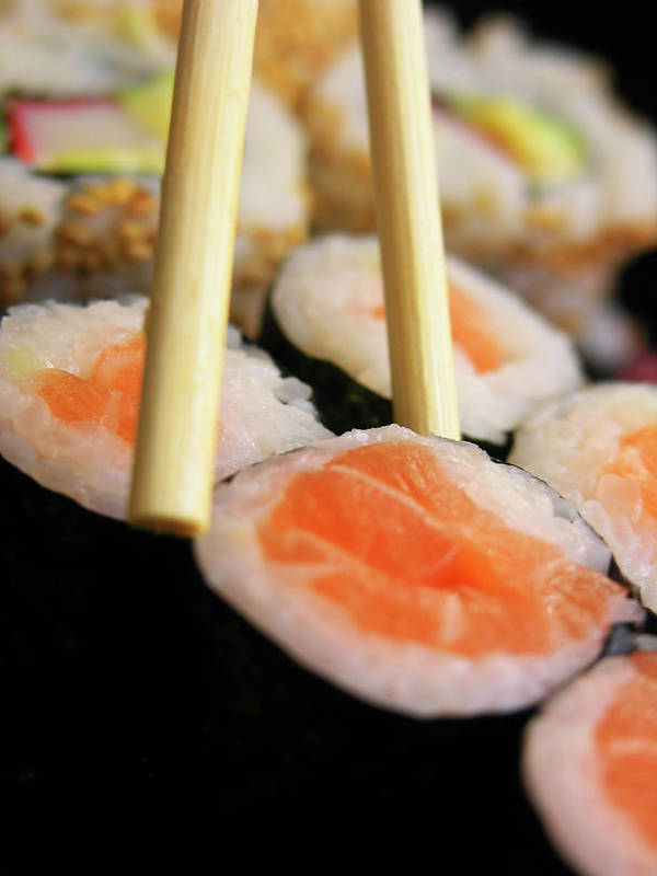 Japanese Food Art Print featuring the photograph Picking Some Sushi by Caracterdesign
