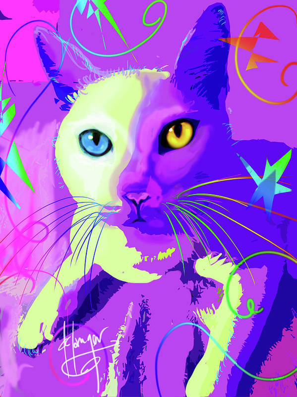 Dizzycats Art Print featuring the painting pOp Cat Cotton by DC Langer