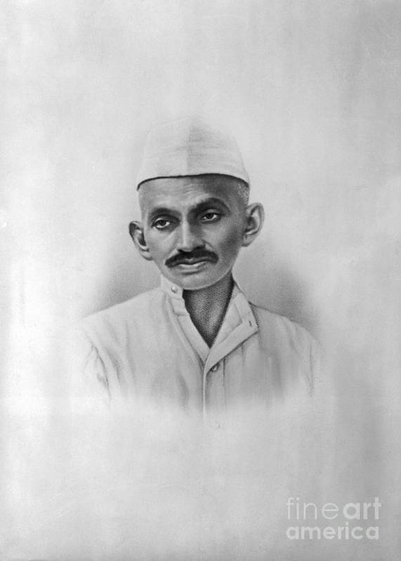 People Art Print featuring the photograph Portrait Of Mahatma Gandhi by Bettmann