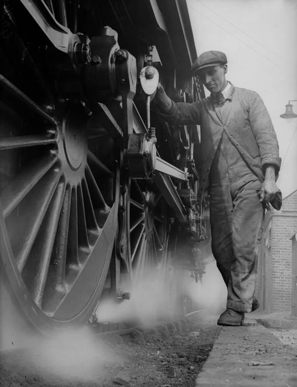 Engine Art Print featuring the photograph Railwayman by Fox Photos