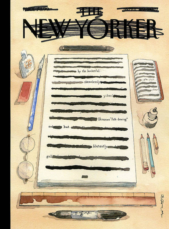 Captionless Art Print featuring the drawing Redacted Cover by Barry Blitt