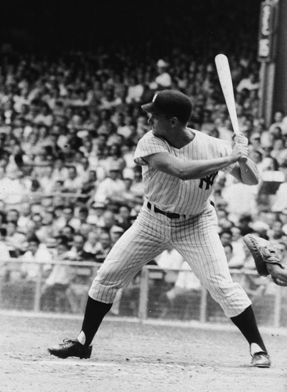 American League Baseball Art Print featuring the photograph Roger Maris At Bat At Yankee Stadium by Hulton Archive