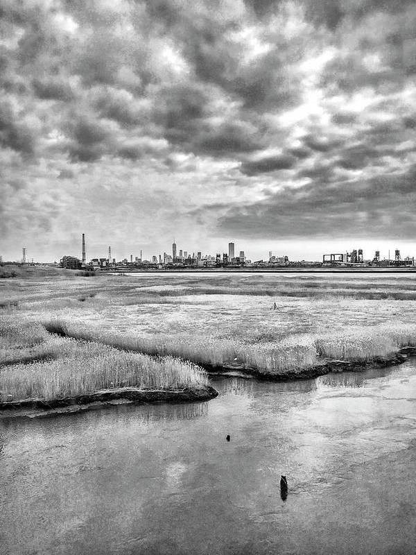 Rolling Into Nyc Black And White Art Print featuring the photograph Rolling into NYC Black and White by Sharon Popek