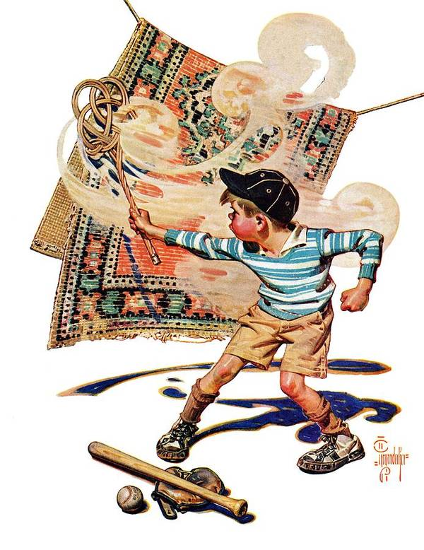 Baseball Art Print featuring the drawing Rug Beater by J.c. Leyendecker