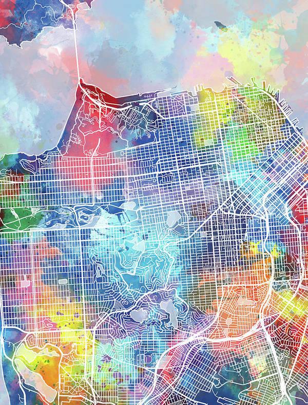 San Francisco Art Print featuring the digital art San Francisco Map Watercolor by Bekim M
